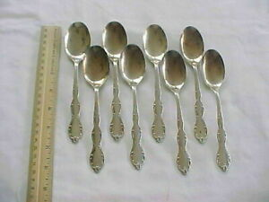 8 Oval Soup Spoons Wm Rogers Mfg Co Silver Plate Camelot Melody