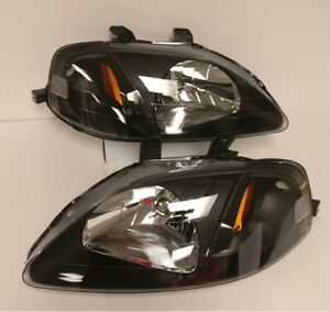 Jdm Oe Style Black Housing Amber Reflector Headlight Lamps For 99 00 Civic