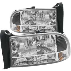 Chrome Housing Clear Lens Amber Reflector Headlights For Durango 97 04 Dakota