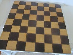 Wood Carved Checkerboard Great Color Signed Heavy Thick 1 Wood