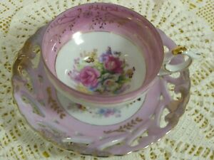 Vintage Floral Reticulated 3 Footed Teacup And Saucer Pink Roses