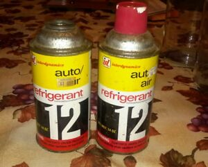 Two 14 Ounce Cans Of R12 Refrigerant Unused Old Stock As Shown