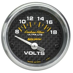 Auto Meter 4791 Carbon Fiber Electric Voltmeter Gauge 2 1 16 8 18 Volts