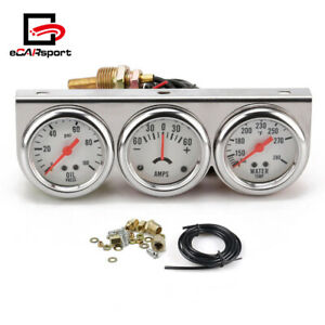 2 52mm Chrome Car Triple Gauge Kit Oil Pressure Water Temp Amp Meter White
