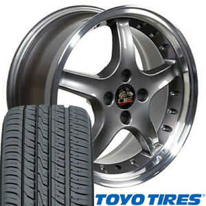 17x8 Wheels Tires Fit Ford Mustang Cobra R Anthracite Rim W Rivets Toyo W1x