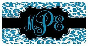 Personalized Monogrammed License Plate Auto Car Tag Cheetah Lapis Blue Leopard