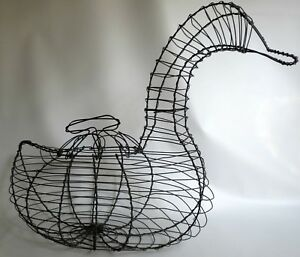Large Antique French Farmhouse Wire Egg Basket Duck Shape 16 Tall Rare