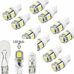 10pcs Car Cool Led Smd Dc T5 12v Per 194 Lights White 5 Bulb T10 Base Wedge Us