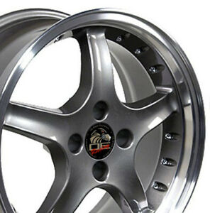 17x8 Wheels Fit Ford Mustang 4 Lug Cobra R Anthracite Mach D W Rivets W1x Set