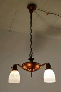 Antique Vintage 20 S Art Deco Ceiling Light Chandelier Reverse Painted Shades