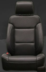 2014 18 Silverado Gmc Double Cab Wt Katzkin Black Leather Seat Covers Kit Bench
