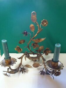Vintage Gilt Gold Tole Italian Wall Sconce Candle Holder