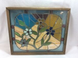 Beautiful Vintage Stained Glass Window Panel Handmade Wood Floral Garden