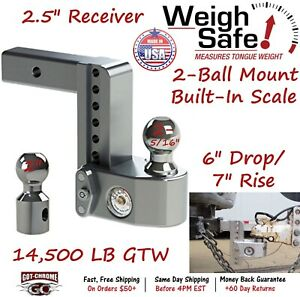 Ws6 2 5 Weigh Safe 2 5 Receiver Adjustable Ball Mount Hitch W 6 Drop 7 Rise