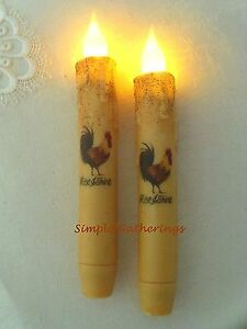 Rooster Timer Taper Candles 2 Rise Shine Grungy Cream 6 3 4 Primitive Farm