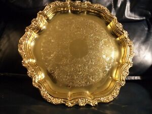 Vintage International Silver Co Countess Gold Plated Serving Tray