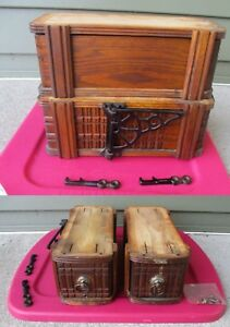 2 Antique New Home Treadle Sewing Drawers W Frames Support Arm Leg Hooks