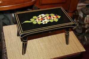 Antique Wood Foot Stool Folk Art Painted Flowers Country Decor Plant Stand