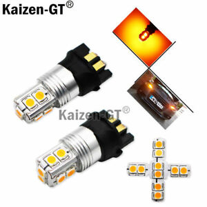 Amber Error Free Pwy24w Led Bulbs For Audi Vw Front Turn Signal Lights Drl Lamp