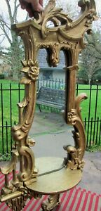 Antique Gold Gesso Wooden Victorian Wall Mirror Shelf Large 32 Art Nouveau Swag