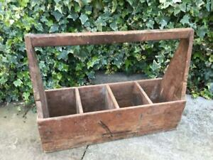 Vintage Carpenters Wooden Caddy Joiners Tool Carry Tote Box Compartmental Box