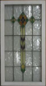 Large Old English Leaded Stained Glass Window Gorgeous Diamonds 20 75 X 39 75