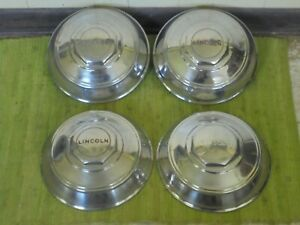 1946 Lincoln Dog Dish Hubcaps Set Of 4 Poverty 46 Hub Caps