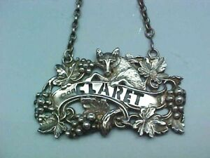 1973 Sterling Silver Claret Wine Label Or Decanter Tag Wyard Druitt Of London
