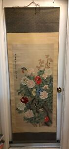 Vintage Japanese Butterflies On Flowers Hanging Roll Up Scroll Signed