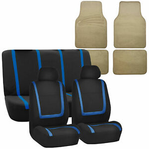 Universal Auto Seat Covers For Car Suv Van Blue Combo W Beige Floor Mat