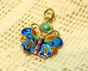 Antique 19c Qing Chinese Gold Silver Enamel Butterfly Turquoise Necklace Pendant