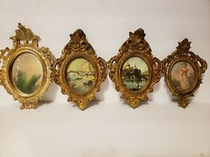 4 Vintage Italian Wood Frame Picture Print Gold Italy Wall Art Gilt Mirror