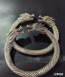 A Pair Chinese Miao Silver Dragon Cuff Bangle Bracelet Aaaa