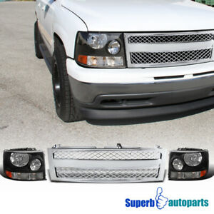 99 02 Chevy Silverado Black Headlights Pair bumper Mesh Grille Chrome