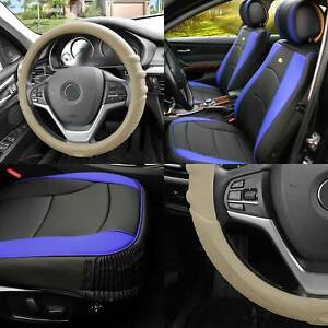 Leather Seat Cushion Bucket Covers Black Blue W Beige Steering Cover For Se