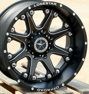 20 Matte Black Lonestar Bandit Wheels Chevrolet Gmc Truck Set 4 20x10 8x180 25