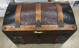 Vintage Antique Domed Steamer Trunk Victorian Solid Wooden Chest Restored