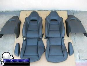 14 17 Gm Chevy Corvette Z06 C7 Oem Black Leather Seats Covers White Stitching