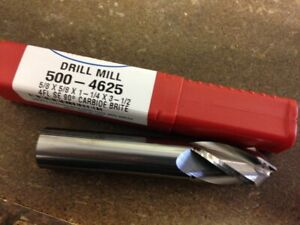 5 8 4 Flute 90 Degree Point Angle Carbide Drill Mill