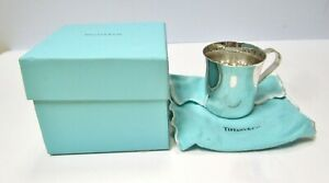 Antique Tiffany Co Makers Sterling Silver Mirrored Baby Cup 23245 W Puch Box