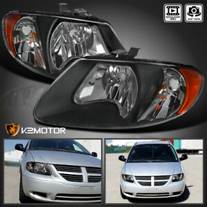 For 2001 2007 Dodge Caravan Chrysler Town Country Black Replacement Headlights