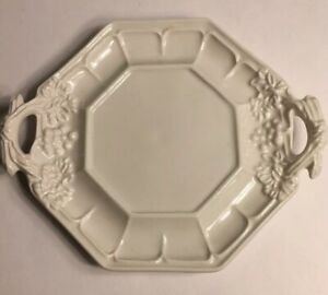 Red Cliff White Ironstone Underplate For Tureen Grape Pattern Aprox 7 Inch
