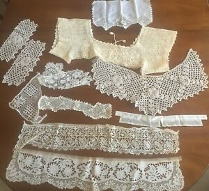 Lot 11 Antique Hand Made Crochet Lace Collars Doilies Shawl Handkerchief