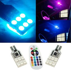 2x T10 921 High Power Rgb Led Multi Color Parking Interior Light Bulbs Canbus Ea