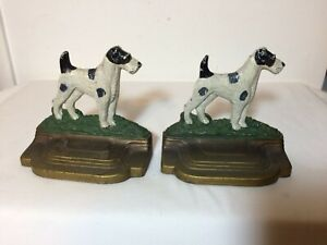 Antique Terrier Dog Cast Iron Bookends Bradley Hubbard