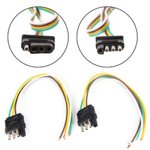 2trailer Light Wiring Harness Extension 4 Pin Plug 18 Awg Flat Wire Connector Hg