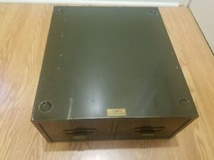 Vtg P R System Physicians Record Company Chicago Metal Army Green File Cabinet