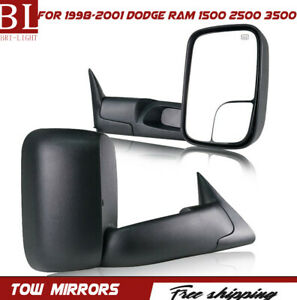 Left And Right Pair Tow Mirrors Power Heated Fit 98 01 Dodge Ram 1500 2500 3500