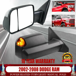 For 02 05 06 2007 08 Dodge Ram 1500 2500 3500 Heated Towing Mirrors Turn Light
