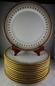 12 Royal Cauldon China H1640 Brown Westhead Moore Dinner Plates Gold Greek Key